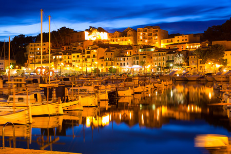 Port de Soller sunset in Majorca at Balearic island of Mallorca Spain Imagens