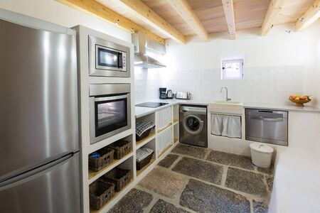 residencial: Majorca Balearic kitchen indoor house in Balearic islands Mediterranean architecture of Mallorca Stock Photo