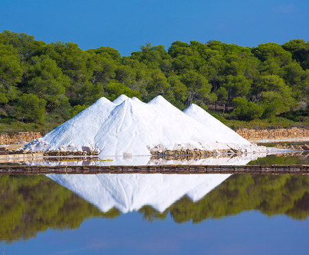 residual: Mallorca Ses Salines Es Trenc Estrenc saltworks in Balearic Islands Spain Stock Photo