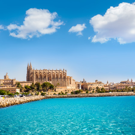Majorca Palma Cathedral Seu Seo of Mallorca at Balearic Islands Spain Imagens - 37632596