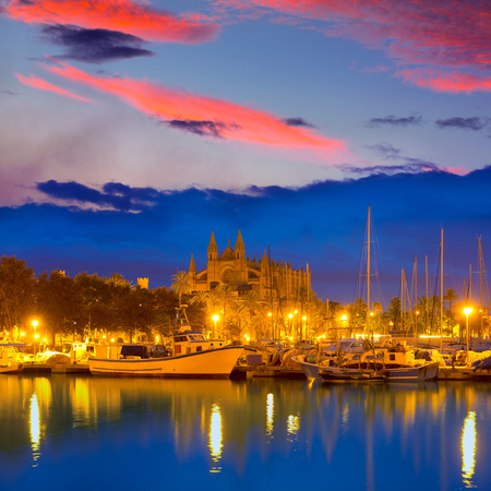 Palma de Mallorca sunrise with Cathedral and port in Majorca Balearic islands of spain