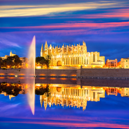 Palma de Mallorca Cathedral Seu sunset in Majorca Balearic islands of Spain Stock fotó
