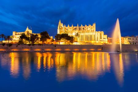 Palma de Mallorca Cathedral Seu sunset in Majorca Balearic islands of Spain