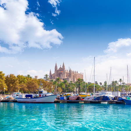 Palma de Mallorca port marina in Majorca with Cathedral church Balearic Islands Stock Photo - 37631399