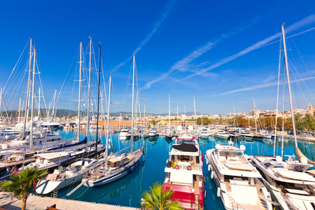 sea port: Palma de Mallorca port marina in Majorca Balearic island of Spain