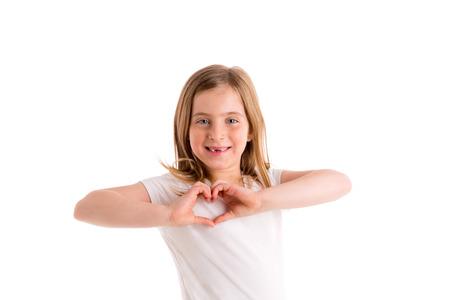 symbol hand: Blond r�ckt Kindm�dchen Herd Form Finger l�chelnd Geste auf wei�em Lizenzfreie Bilder