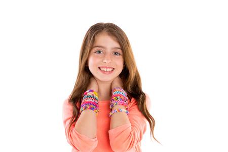 hair band: Loom rubber bands bracelets blond kid girl smiling hands in neck on white