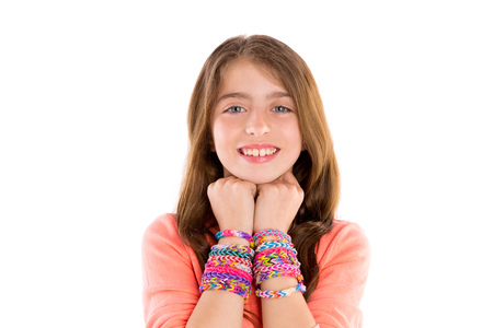 rubber bands: Loom rubber bands bracelets blond kid girl smiling hands in neck on white  Stock Photo