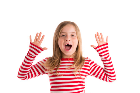 girl open mouth: Blond indented kid girl open mounth and hands happy expression gesture on white Stock Photo