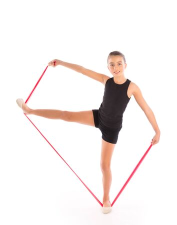 resistance: Fitness rubber resistance band kid girl exercise workout on white
