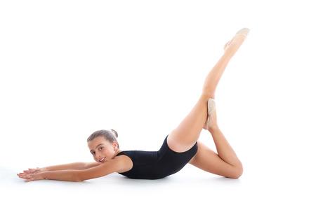 gymnastic: Kid girl rhythmic gymnastics exercises on white