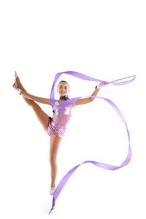 calisthenics: Kid girl ribbon rhythmic gymnastics exercise on white  Stock Photo