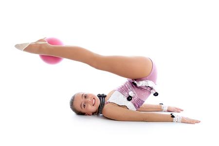 gymnastics equipment: Kid girl ball rhythmic gymnastics exercise on white  Stock Photo