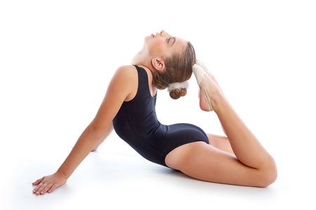 calisthenics: Kid girl rhythmic gymnastics exercises on white background