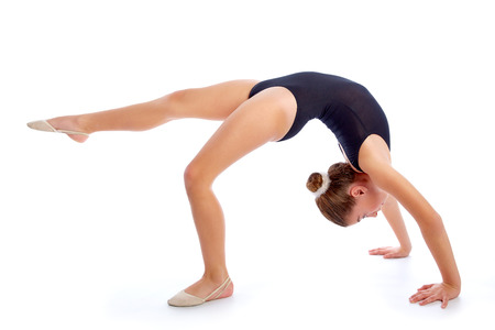 poses: Kid girl rhythmic gymnastics exercises on white