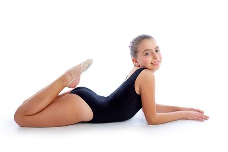 白の子供女の子新体操練習 写真素材