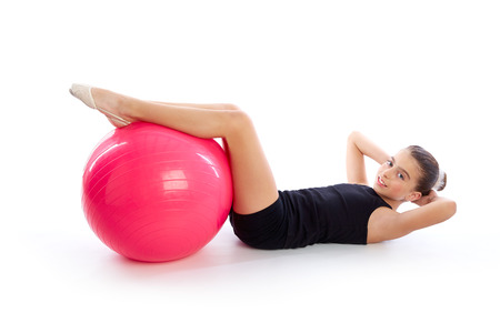fit ball: Fitness fit ball swiss ball kid girl exercise workout on white
