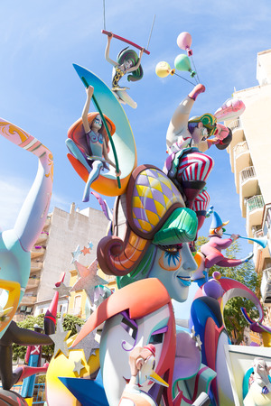 Fallas of Valencia in Denia popular fest figures in Spain photo