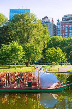 boston common: Boston Common public garden Swan boats in Massachusetts USA