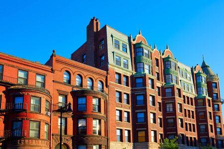 boston cityscape: Boston Massachusetts brick wall buidings cityscape in USA Stock Photo
