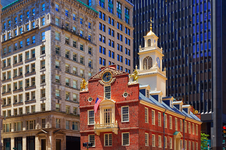 Boston Old State House pand in Massachusetts USA