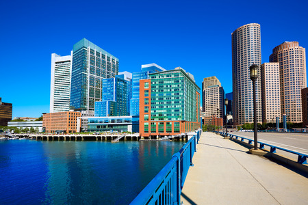 Boston skyline from Seaport boulevard bridge Massachusetts USA