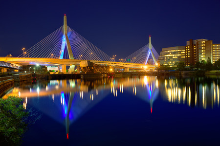 bridge: Boston Zakim bridge sunset in Bunker Hill Massachusetts USA Stock Photo