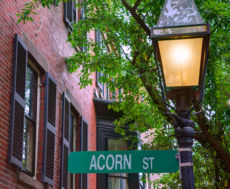 Acorn street Beacon Hill cobblestone Boston in Massachusetts USA photo