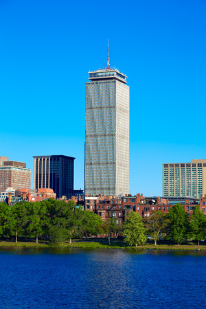 prudential: Boston from Harvard Bridge in Charles River Prudential Tower at Massachusetts USA