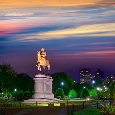boston common: Boston Common George Washington monument sunset at Massachusetts USA