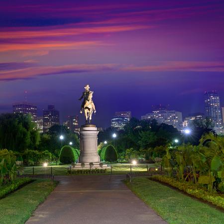 george washington: Boston Common George Washington monument sunset at Massachusetts USA