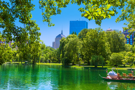 Boston Common lake and skyline in Massachusetts USA