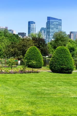 Boston Common Park Gardens And Skyline In Massachusetts USA Stock Photo    38230463