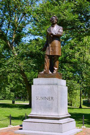 boston common: Boston Common Sumner monument in Massachusetts USA