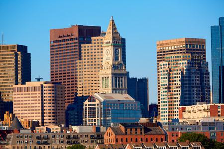 massachusetts: Boston skyline in sunlight at Massachusetts USA Stock Photo