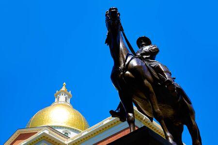 hooker: Boston Massachusetts State House and Hooker monument in USA