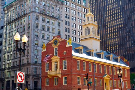 boston cityscape: Boston Old State House buiding in Massachusetts  USA