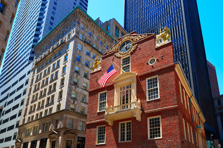 the famous: Boston Old State House buiding in Massachusetts  USA