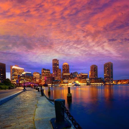 boston skyline: Boston sunset skyline from Fan Pier in Massachusetts USA