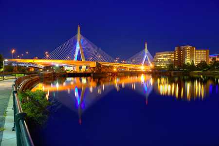 boston cityscape: Boston Zakim bridge sunset in Bunker Hill Massachusetts USA Stock Photo