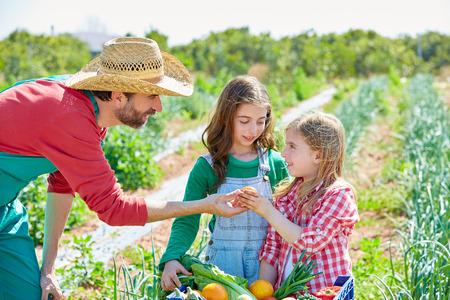 果樹園の子供女の子に野菜の収穫を示す農夫男 写真素材