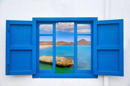 beach window: Almeria view from window of Cabo de Gata beach photo mount