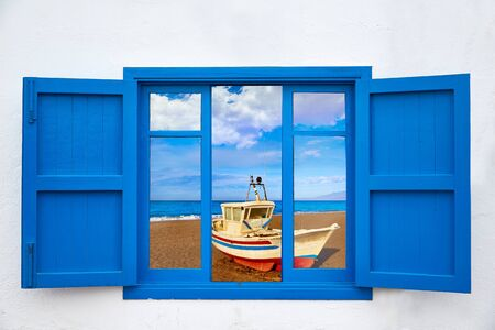 beach window: Almeria view from window of Cabo de Gata San Miguel beach photo mount