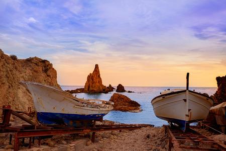 Almeria Cabo de Gata las Sirenas sunset rocks in Mediterranean sea of Spain photo