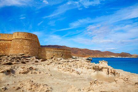 beaches of spain: Almeria Cabo de Gata fortress Los Escullos beach of Spain