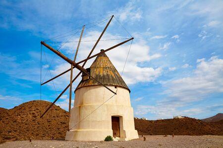 western europe: Almeria Molino de los Genoveses windmill traditional in Spain Stock Photo