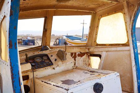 beached: Almeria Cabo de Gata old boat indoor in San Miguel at Spain Stock Photo