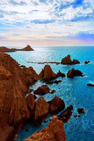 Almeria Cabo de Gata las Sirenas point rocks in Mediterranean sea of Spain photo
