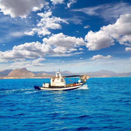 mongo: Denia fisher boat sailing in Mediterranean sea alicante at spain