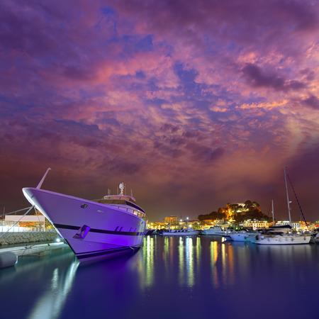 marina water: Denia port sunset dusk in marina at Alicante Spain Stock Photo